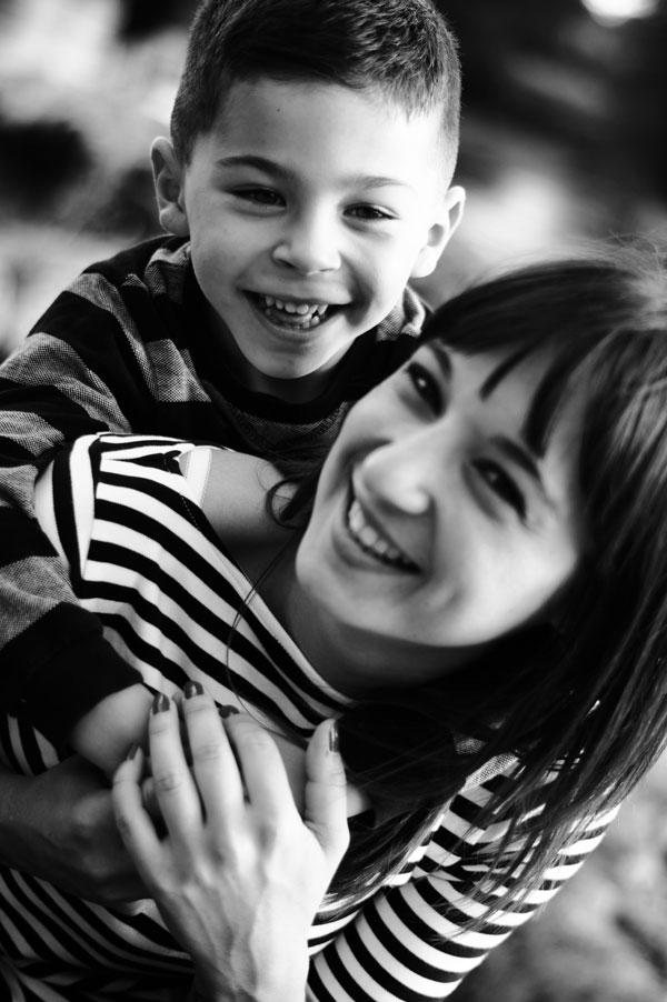 portrait de famille, mère et fils, enfance